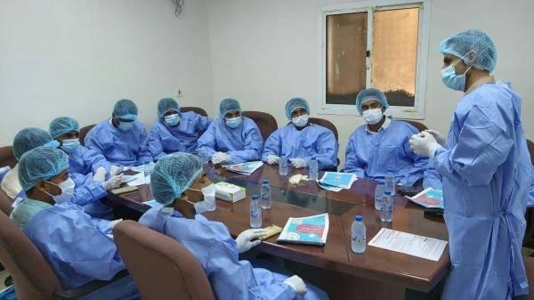 """طبية """"المقاومة الوطنية"""" تنظم دورة تدريبية لمتطوعي الأمن المركزي بالحديدة عن الوقاية من فيروس كورونا"""